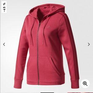 NWT Adidas 3 Stripes full zip SOFT fleece hoodie M